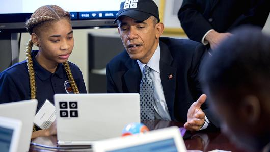 US President Obama writes a line of code and here's what he wrote