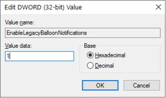 Enable Balloon Notifications