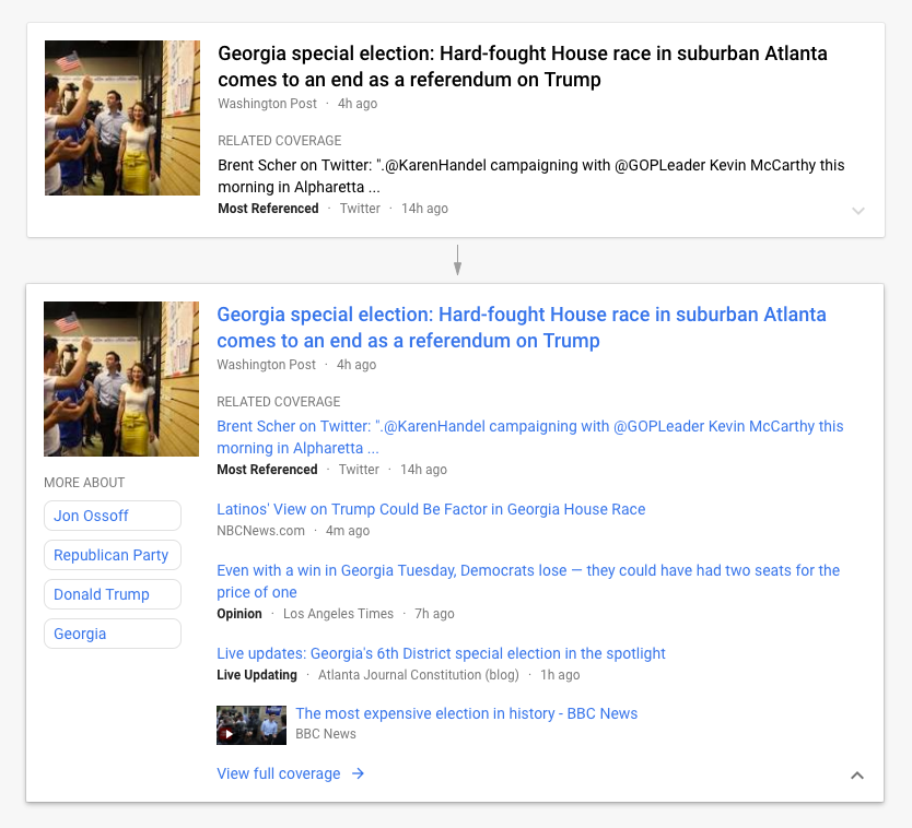 google news story cards