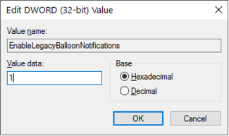 Enable Balloon Notifications