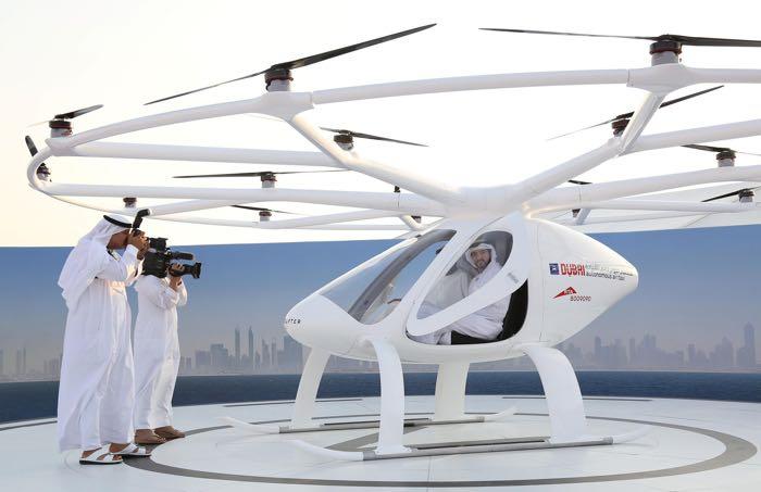 Dubai Crown Prince Sheikh Hamdan bin Mohammed bin Rashid Al Maktoum is seen inside the flying taxi in Dubai, United Arab Emirates September 25, 2017. REUTERS/Satish Kumar
