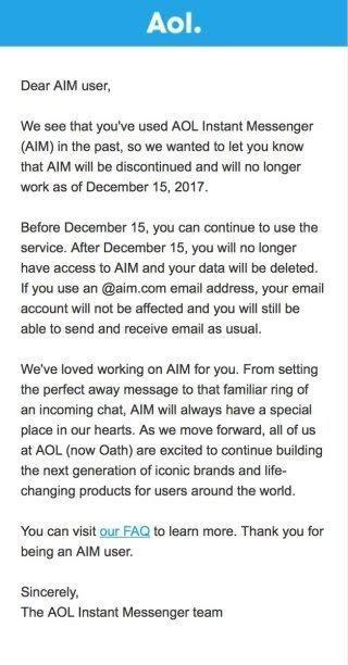 AOL aim message