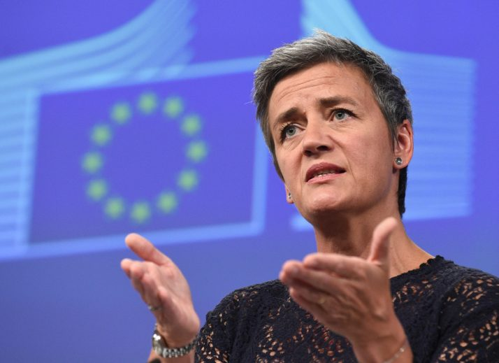 EU Commissioner of Competition Margrethe Vestager gives a press conference on antitrust cases at the EU Headquarters in Brussels, on July 14, 2016. The European Union filed new anti-trust charges against Google on Thursday, piling pressure on the US tech giant over the alleged abuse of its market dominance. / AFP / JOHN THYS        (Photo credit should read JOHN THYS/AFP/Getty Images)