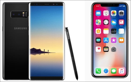 iphone x and galaxy s8